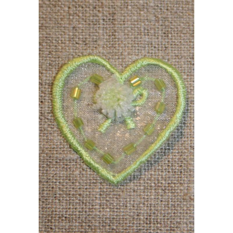 Organza-hjerte m/blomst, lime-33