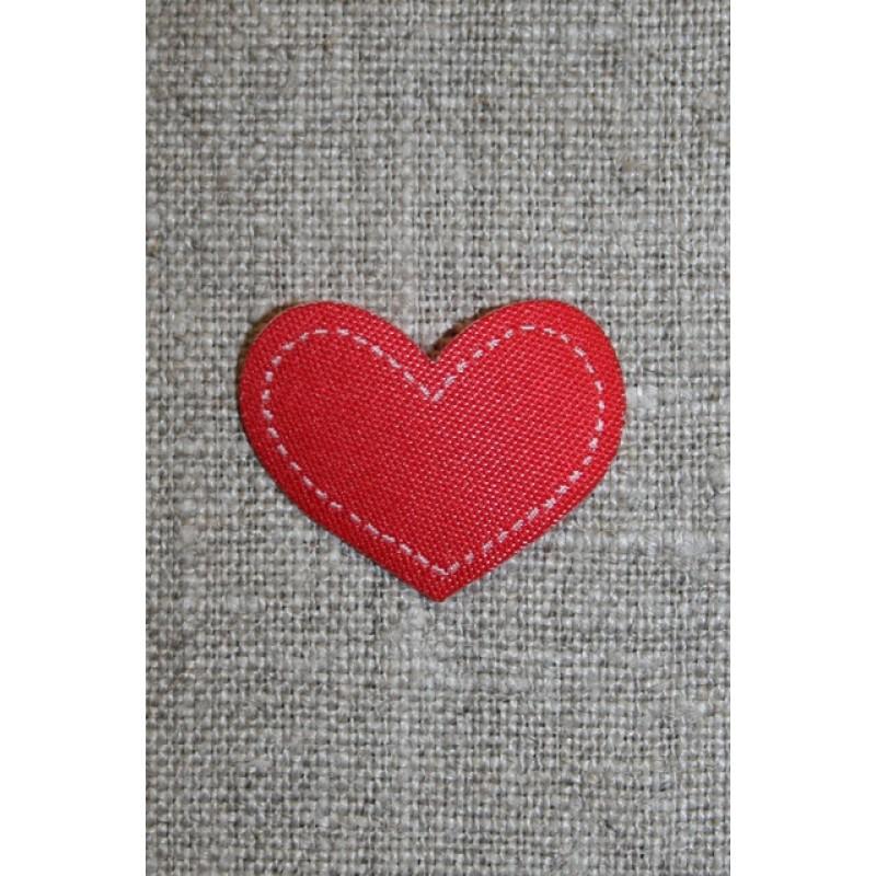 Strygemærke rødt hjerte, 28x22 mm.-31