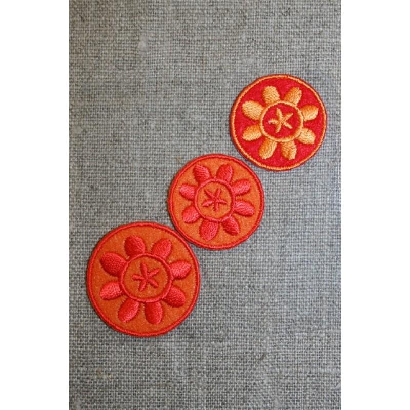 3 cirkler m/blomst orange/rød