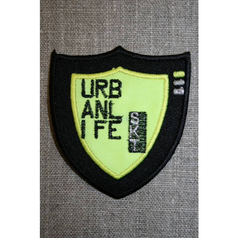 Strygemærke neon URB sort/gul