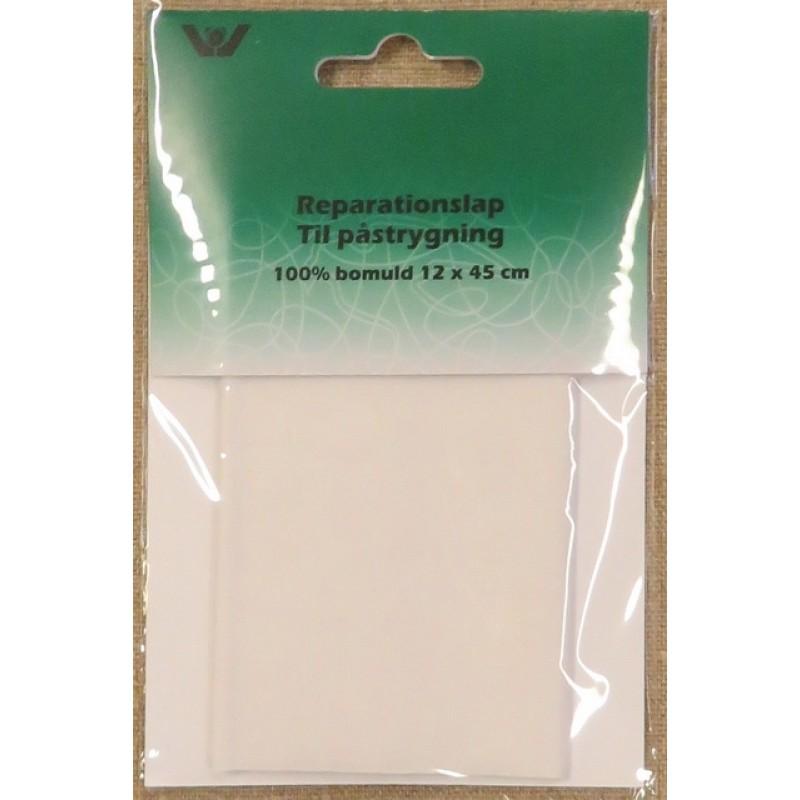 Strygelap i bomuld, hvid 12x45 cm.