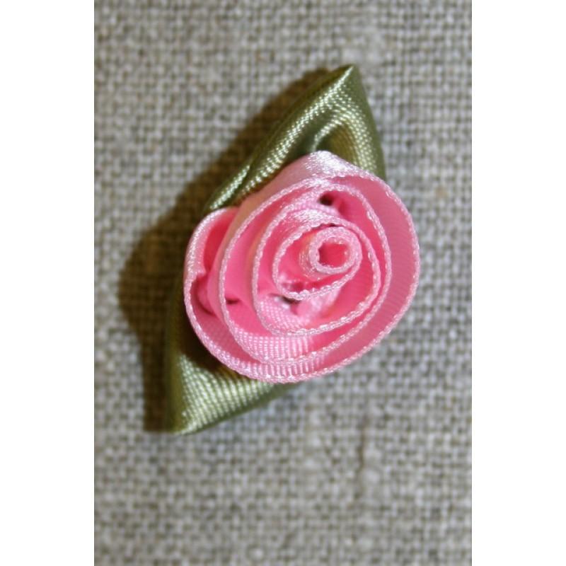 Rose, lyserød/grøn stor-33