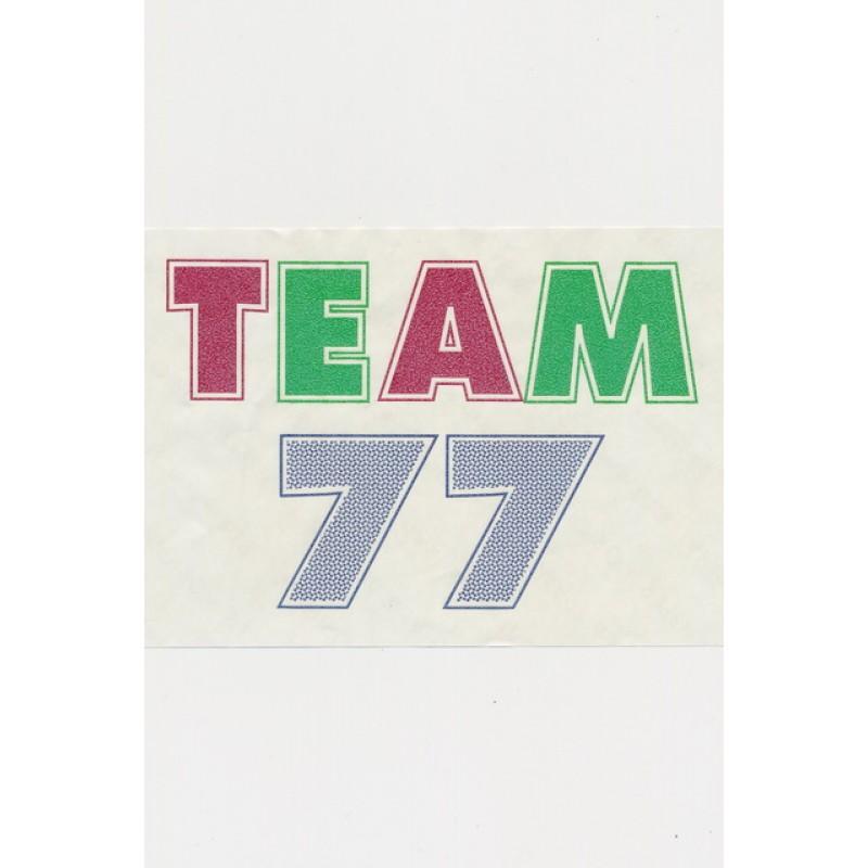 """Transfer/strygemærke """"Team 77"""""""