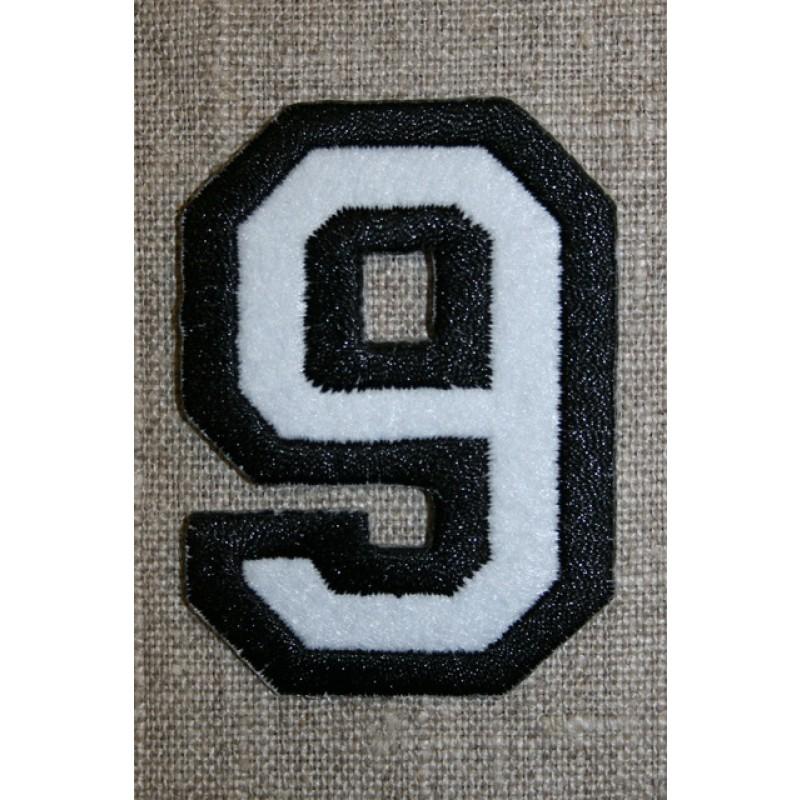 Strygemærke m/tal sort/hvid, 9-33