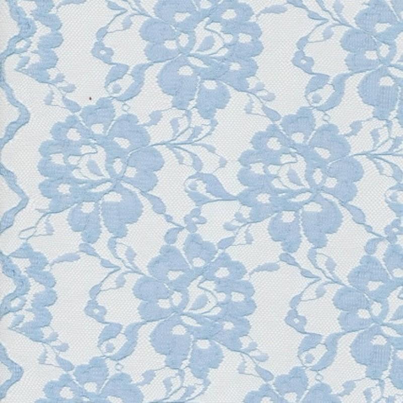 Blonde viscose/polyester m/buet kant, lyseblå