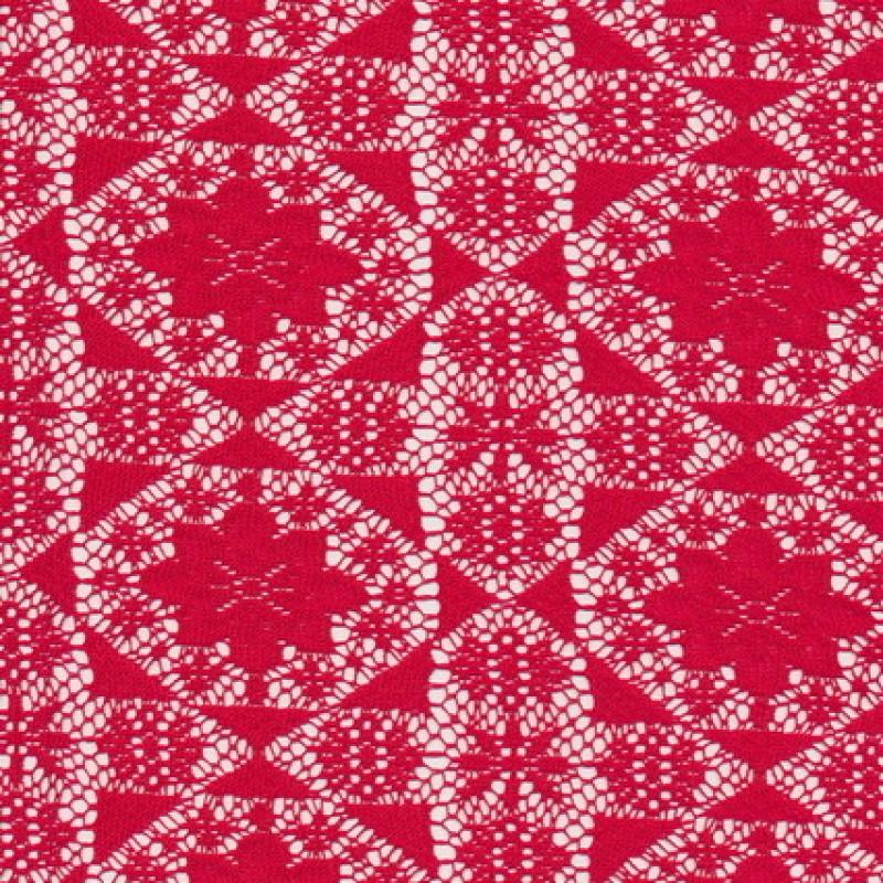 Rest Rød blonde m/blomst/firkant, 110 cm.