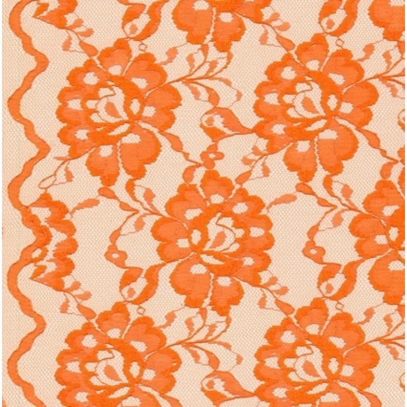 Blonde viscose/polyester m/buet kant, mørk orange-31
