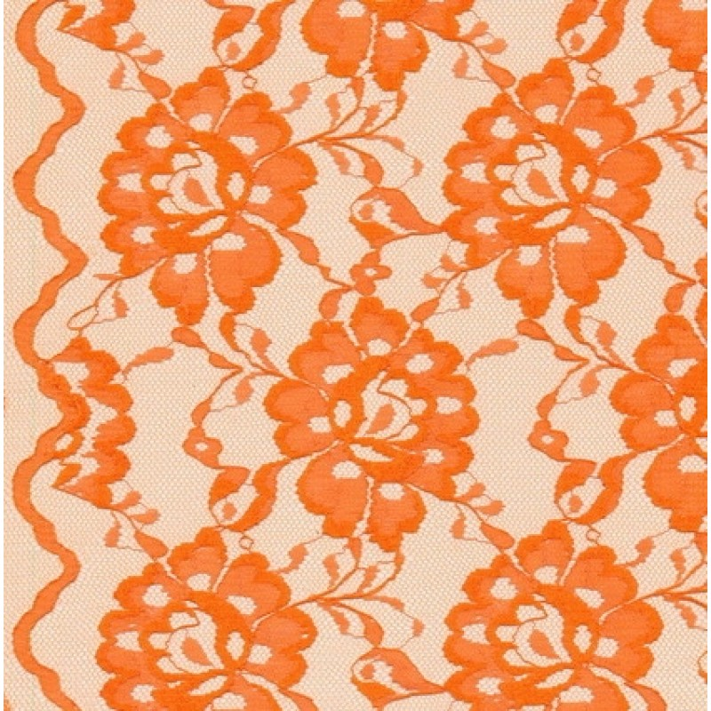 Blonde viscose/polyester m/buet kant, mørk orange