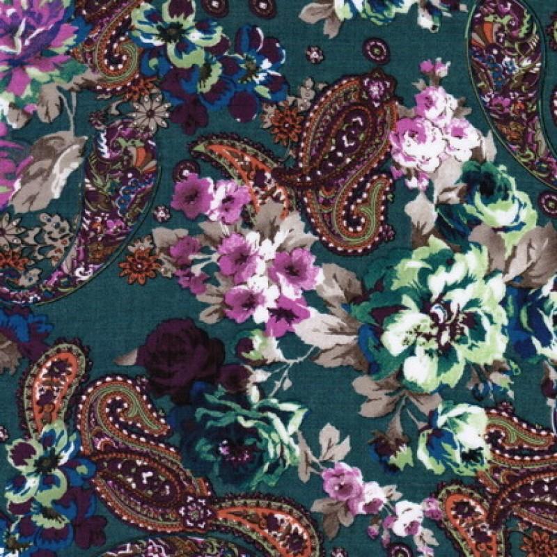 Rest Bomulds-voil m/blomster & sjalsmønster, Petrolgrøn, 50 cm.