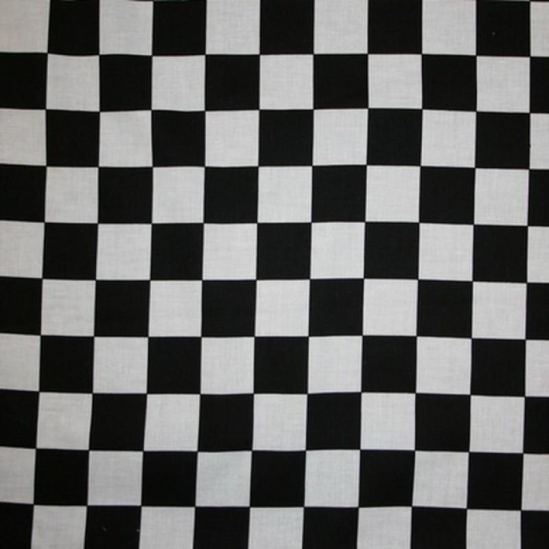 Bomuld hvid-sort med målflags tern