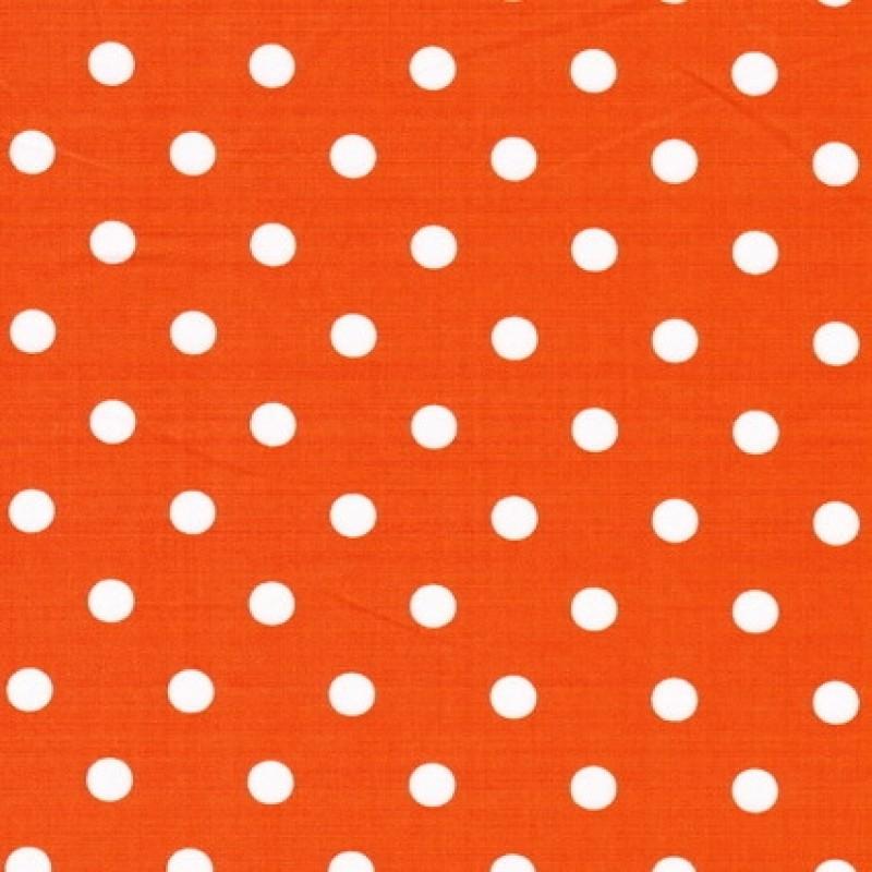 Bomulds-poplin m/hvide prikker, orange-31