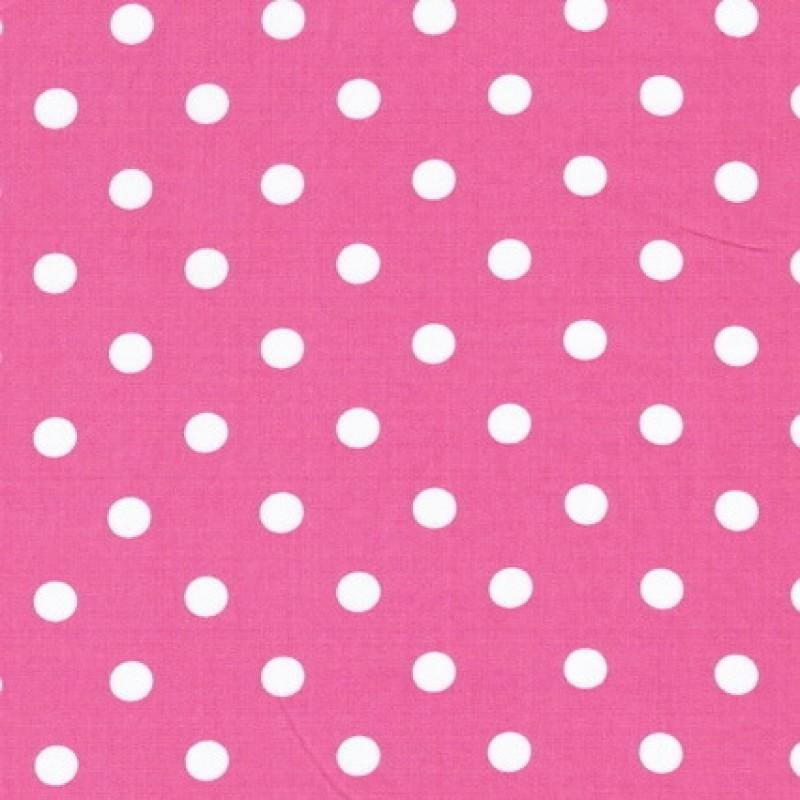 Bomulds-poplin m/hvide prikker, pink-31