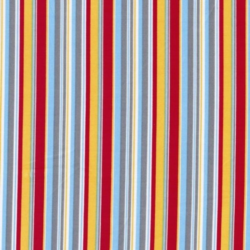 Stribet bomulds-poplin, grå/hvid/rød/gul