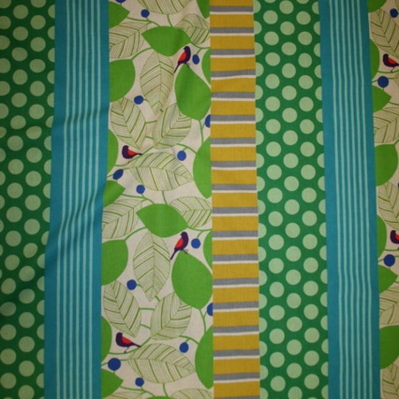 Bomuld/hør m/mønster-striber lime/turkis/græsgrøn-35