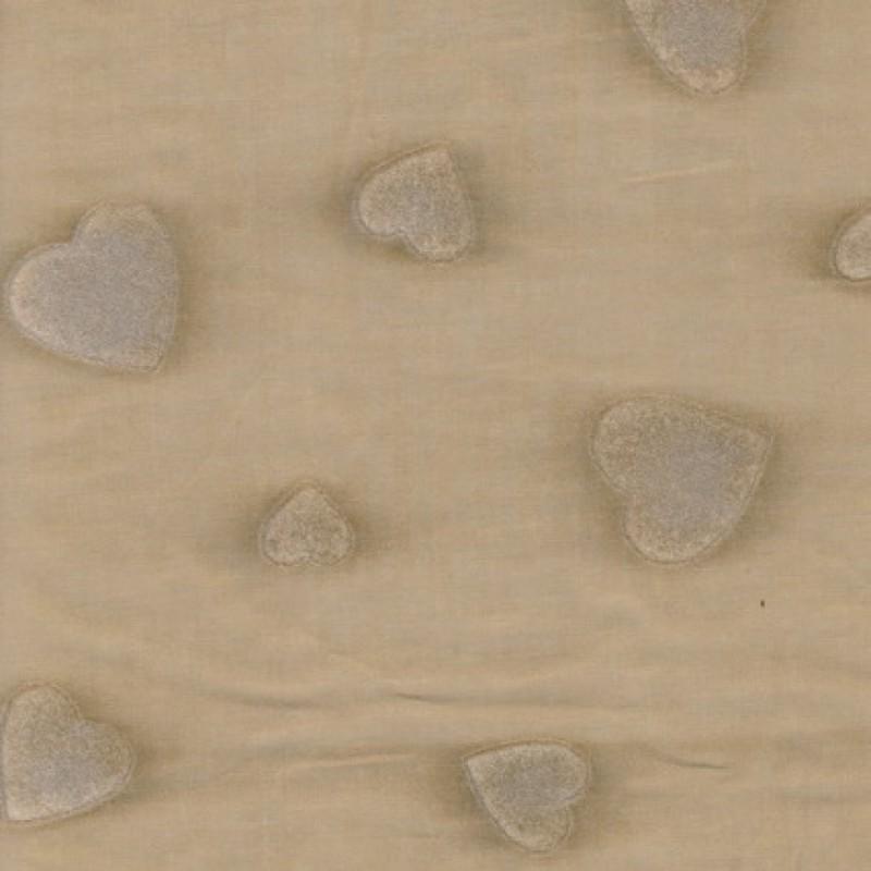 Bomulds-batist beige m/flock-hjerter