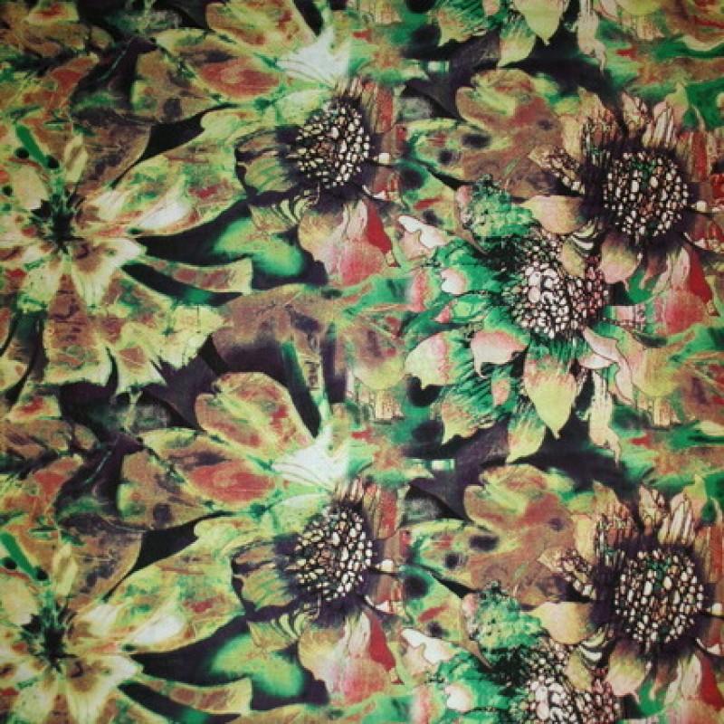 Rest Bomulds-voil blomstret, græsgrøn/lime/brun, 75 cm.-35