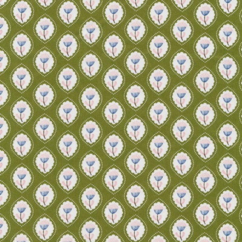 Rest Bomuld m/oval blomster-mønster, oliven 65 cm.-33