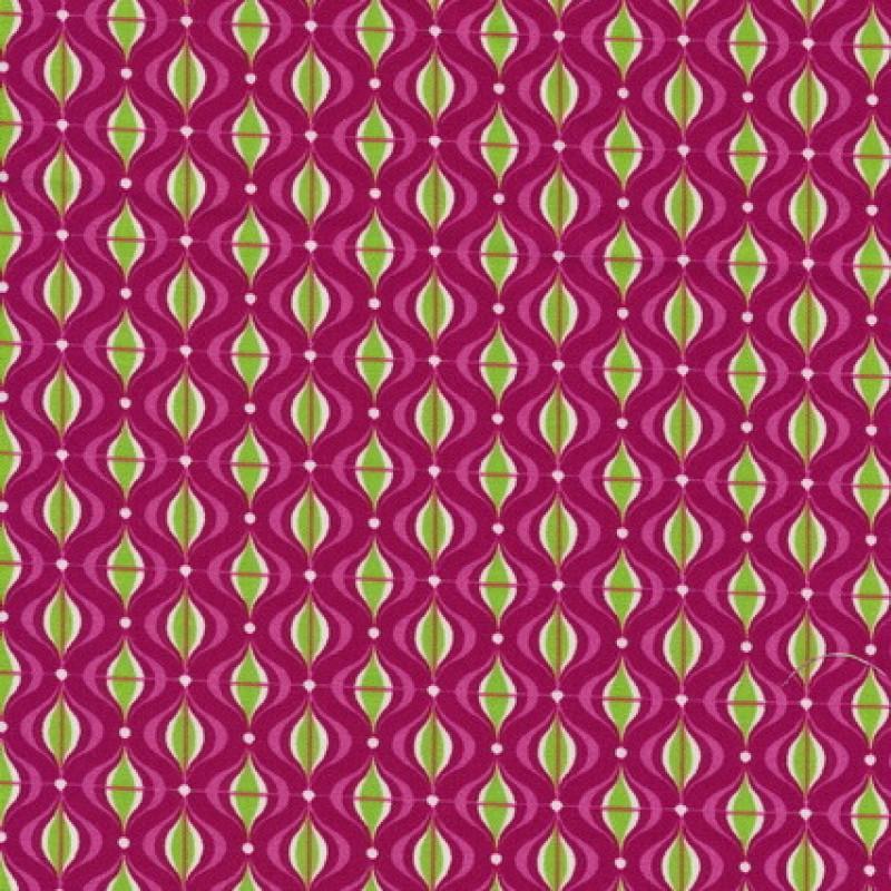 Bomuld små-mønstret pink/lime/hvid