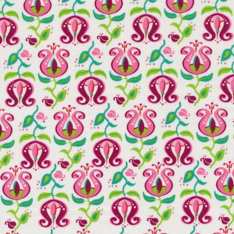 Bomuld m/tulipan hvid/lyserød/grøn-35