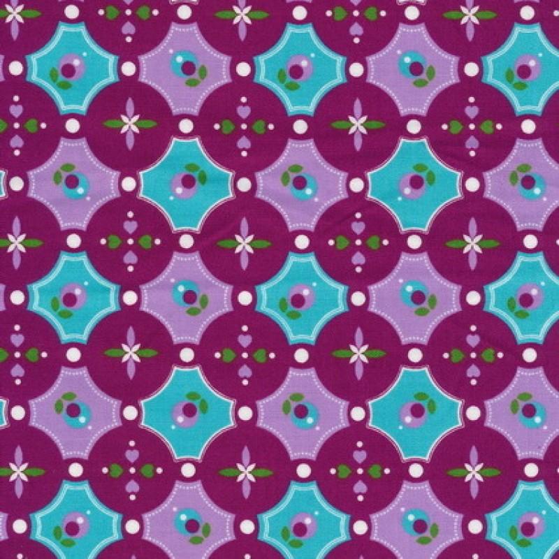 Bomuld m/cirkler/mønster cerisse/aqua/lyselilla-31