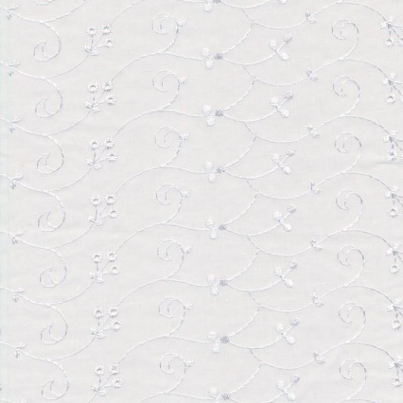 Rest Broderi anglaise m/blankt broderi, hvid- 85 cm.