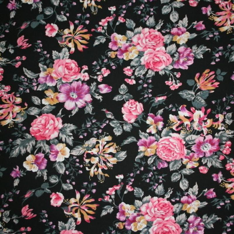 Bomuldspoplin m/blomster, sort/rosa/lilla-33