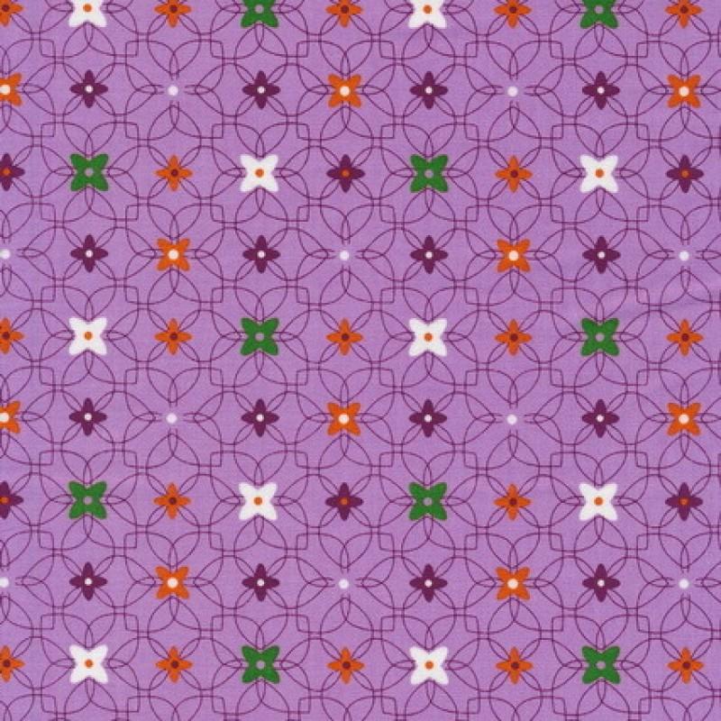 Bomuld m/mønster/blomst lyselilla-35