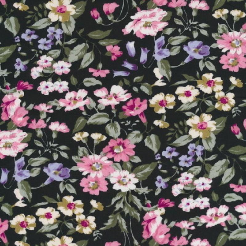 Bomuldspoplin m/blomster, sort/rosa/støvet grøn-33