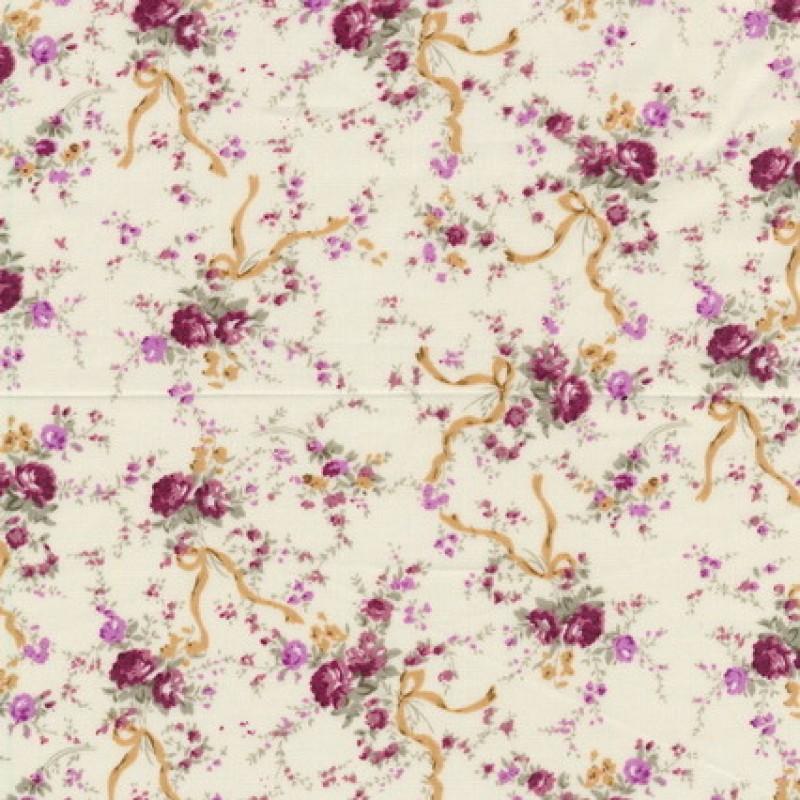 Bomuld m/blomster/bånd off-white/mørk rød/beige-35