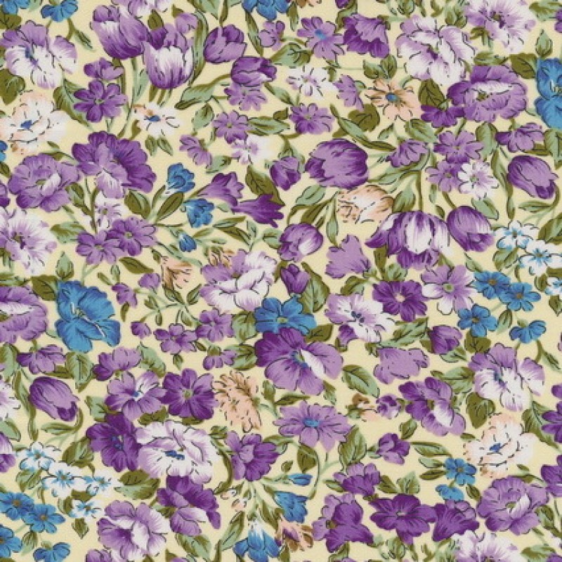 Bomuld m/blomster, lysegul/lilla/blå-35