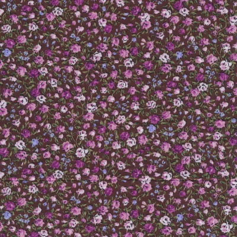 Småblomstret bomuld brun/cerisse/rosa-33
