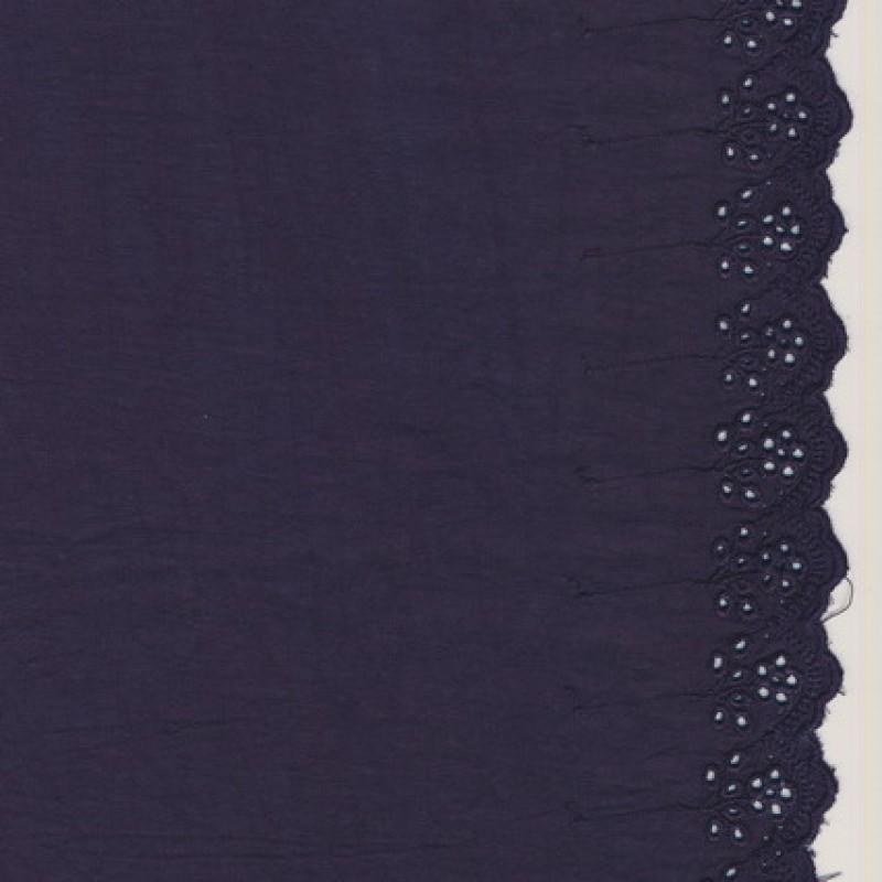 Afklip Bomuld m/broderet kant, mørkelilla 45 cm.x100 cm.-35