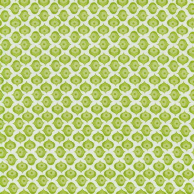 Bomuld m/lille mønster hvid/grøn