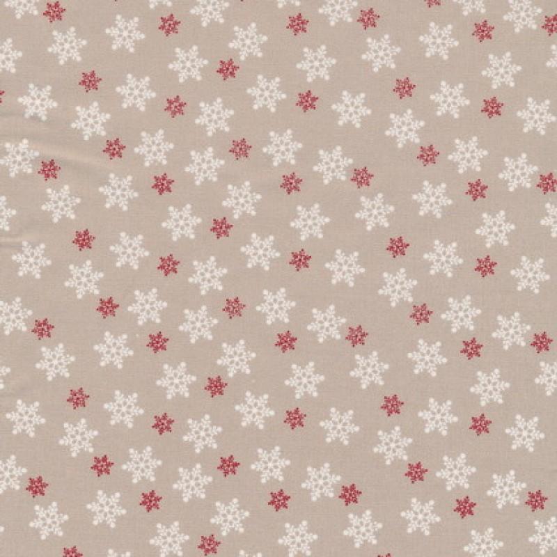 Bomuld m/snefnug, sand/hvid/rød-35