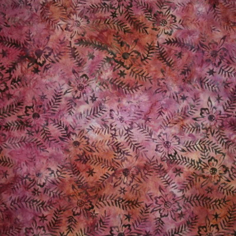 Batik indonesisk bomuld m/blomst/blad, rosa/orange/grå-brun-33