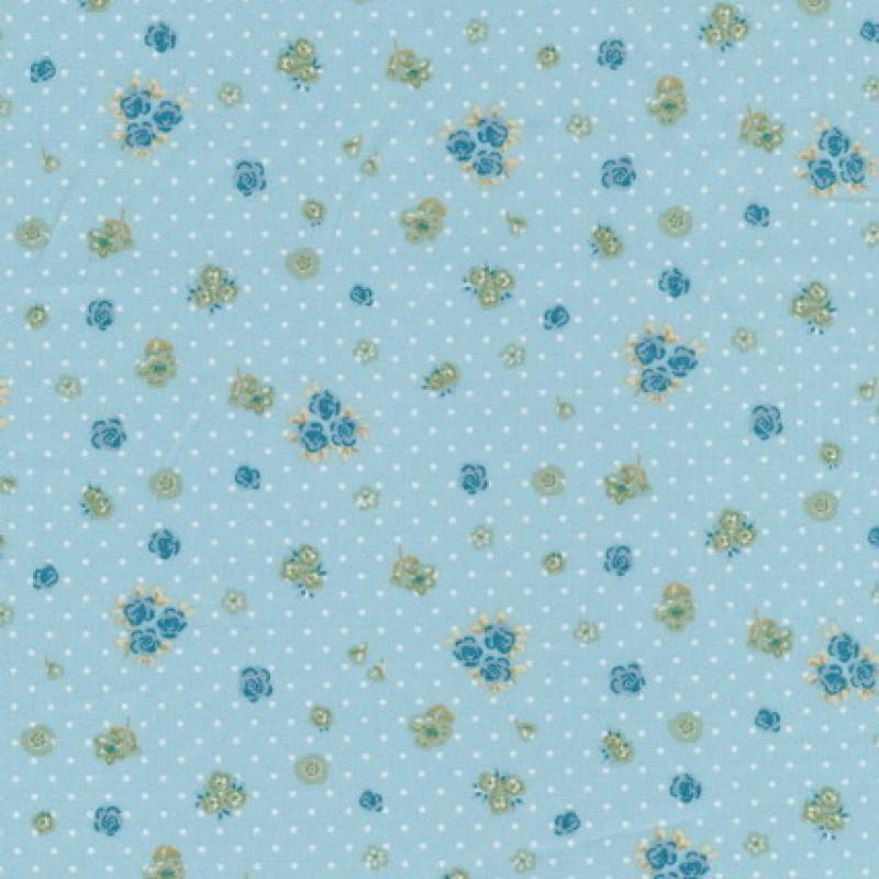 Bomuld m/blomst/prik, lys turkis-blå-35