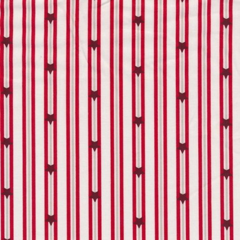Rest Bomuld m/striber/stjerner, hvid/rød 85 cm.-35