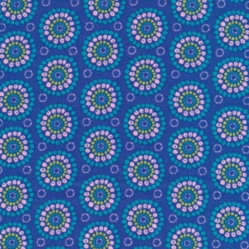 Bomuld m/cirkel/blomst, klar blå-31