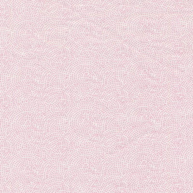 Rest Bomuld m/cirkel/prikker hvid/babylyserød- 50 cm.