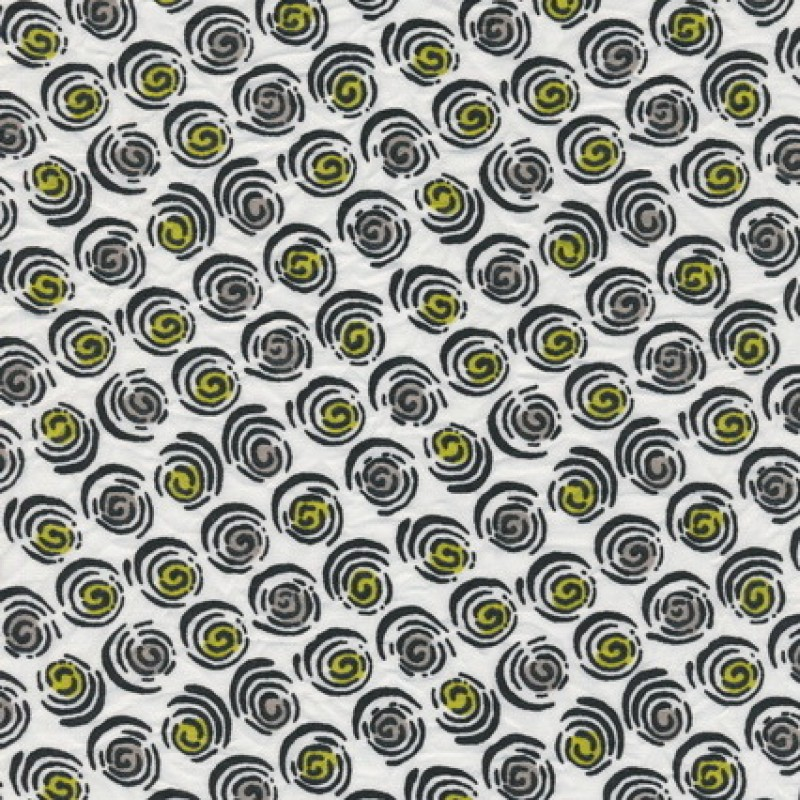 Rest Bomuld/polyester m/cirkel-mønster hvid/sort/lime-gul 35-44 cm-33