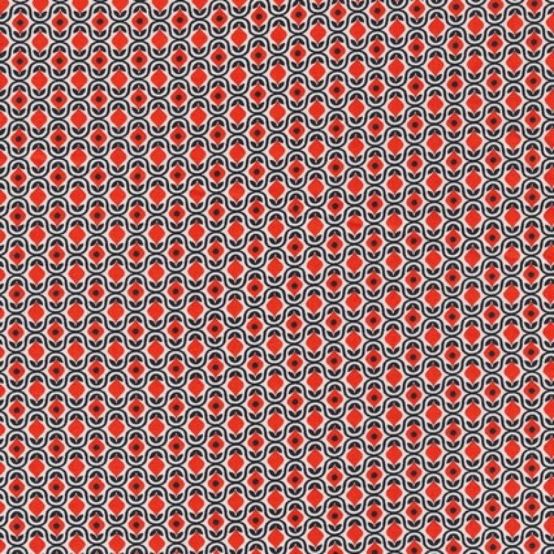 Let bomuld m/retro print hvid/sort/orange-rød-33