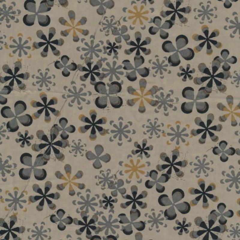 Rest Let bomuld m/blomster, beige/sort/grå 30 cm.-33