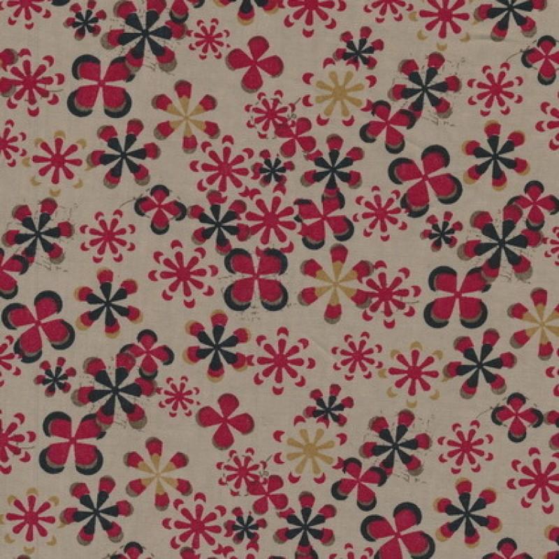 Rest Let bomuld m/blomster, beige/sort/rød 50-60 cm.-33