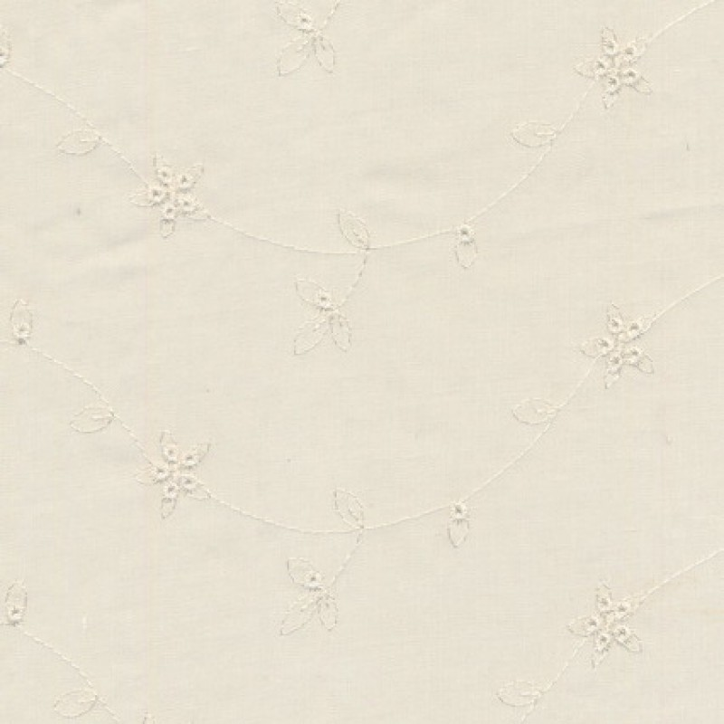 Rest Broderi anglaise m/blankt broderi, off-white, 100 cm.