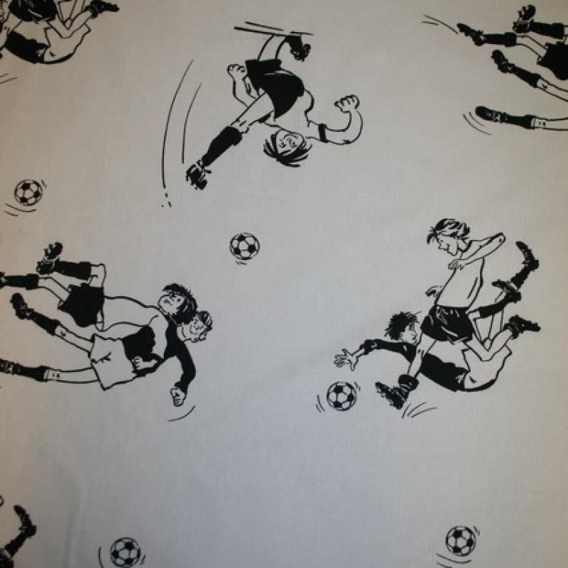 Rest Bomuld m/fodbold-spiller hvid/sort, 155 cm.-33