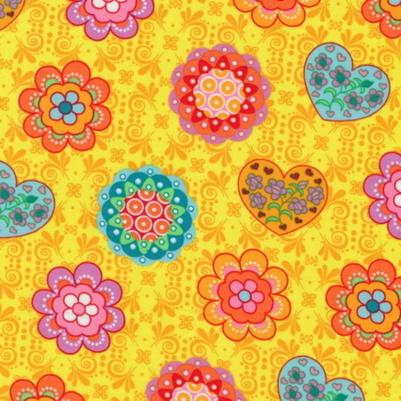Bomuld m/blomster/hjerter, gul/orange/mint-33