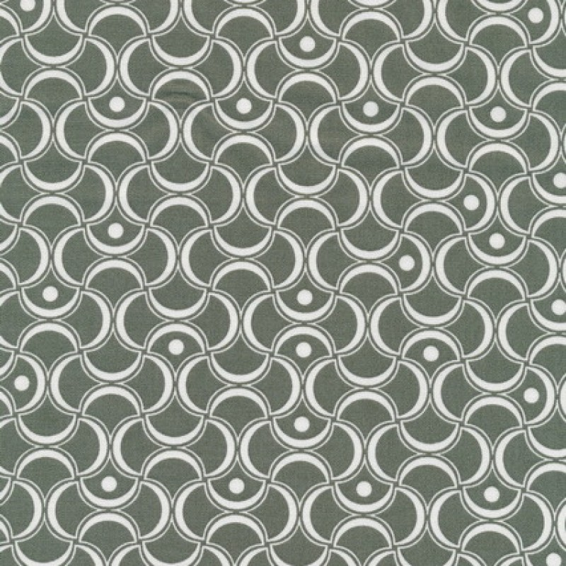 Bomuld mønstret støvet grøn/hvid-33