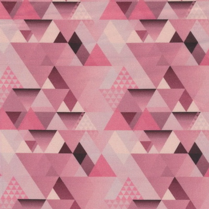 Bomuld m/trekant-mønster, rosa-33
