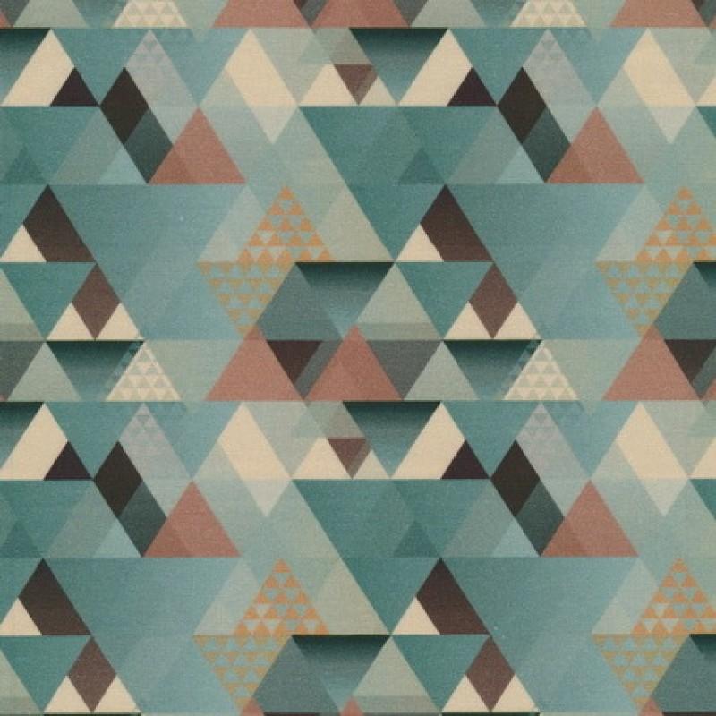 Bomuld m/trekant-mønster, støvet grøn-35