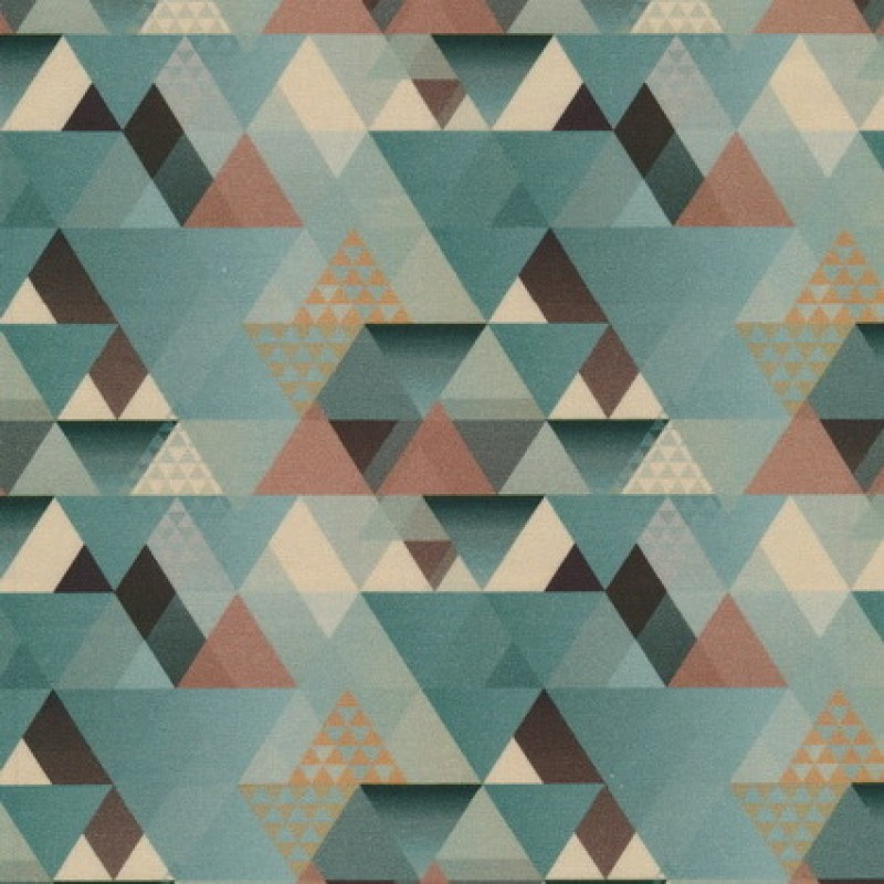 Rest Bomuld m/trekant-mønster, støvet grøn 25 cm.-35